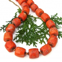 rustic orange coral necklace for women