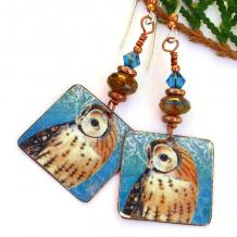 owl jewelry vintage look earrings handmade