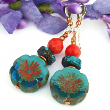 flower pansy earrings gift for women
