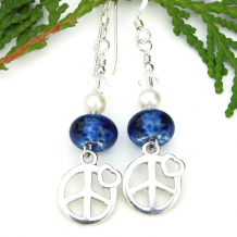 peace signs hearts blue lampwork earrings with pearls