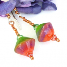 peach pink and lime green with lavender lampwork glass earrings with crystals