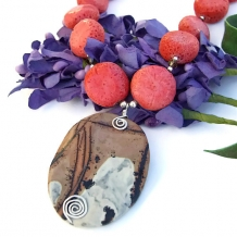 One of a kind nature's paintbrush jasper and coral necklace