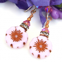 pink and copper flower earrings spring jewelry