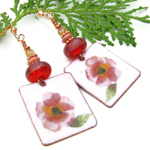 pink and white flower floral earrings with lampwork