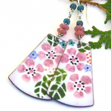 pink flower garden enamel earrings for women