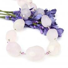 pink rose quartz gemstone necklace gift for women