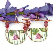 pink lotus earrings gift for women