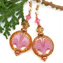 pink handmade earrings swarovski crystals