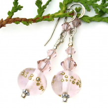 pink lampwork glass bead jewelry with fine silver Swarovski crystals