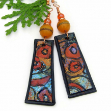 poppy symbolist klimt inspired earrings boho flower garden polymer clay