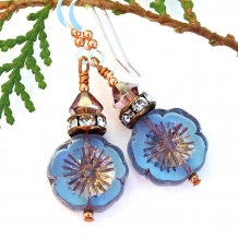 Unique handmade Czech glass blue pansy flower earrings with crystals