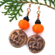 pumpkin halloween jewelry orange lampwork black crystals
