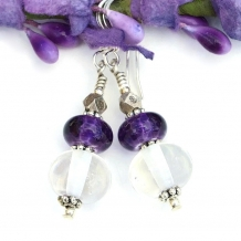 clear and purple lampwork earrings gift for women