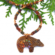 rainbow chakra spirit bear necklace with red creek jasper gift for her