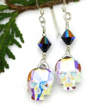 Sparkling skull earrings.