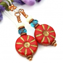 red flower earrings gift for women