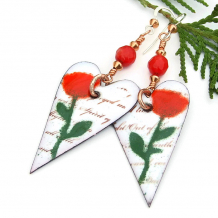 red roses and white hearts valentines earrings