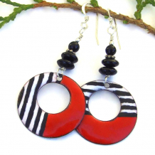 red black and white enamel dangle jewelry with black onyx gemstones gift