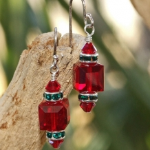Sparkling red and green Swarovski crystal Christmas earrings.