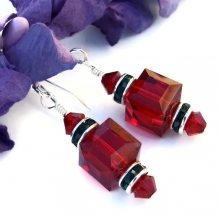 Siam red and emerald green Swarovski crystal handmade holiday earrings.