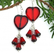 red heart Valentine's Day earrings