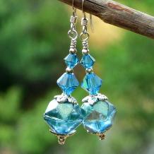 rustic aqua english cut earrings gift for her