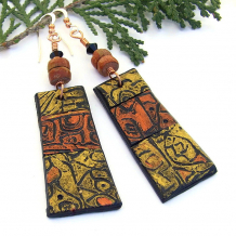 rustic copper and gold hand painted polymer clay earrings