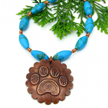 rustic paisley copper dog paw print necklace gemstones