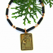 saint francis with birds pendant necklace gift for her