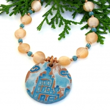 Church and cross necklace