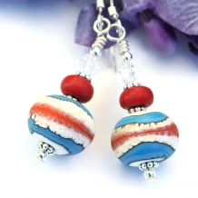 One of a kind Southwest style lampwork & magnesite earrings.