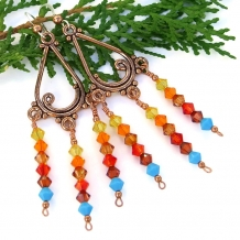 One of a kind sunset colored crystal and copper handmade chandelier earrings.