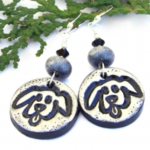 silver and black dog rescue earrings for women