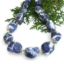 Elegant blue and white sodalite handmade gemstone necklace.