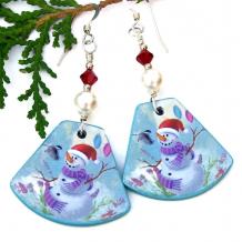 snowman earrings christmas chickadee bird