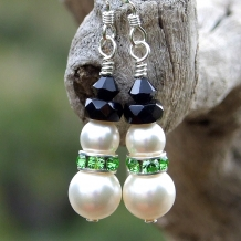Unique handmade pearl and crystal holiday snowmen earrings.