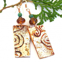 southwest canyons spiral handmade jewelry with lampwork and turquoise