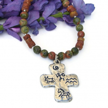 southwest cross pendant necklace petroglyphs gemstones