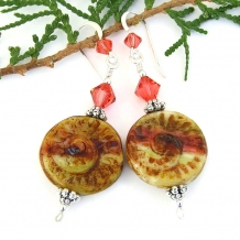 Spiral shell earrings.