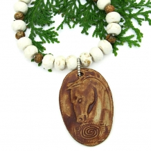 Unique spirit horse pendant necklace with magnesite and picture jasper.
