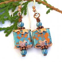 spotted copper on turquoise glass jewelry gift for her