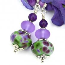 spotted purple green artisan lampwork earrings
