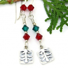 spruce trees christmas holiday earrings red green crystals sterling silver