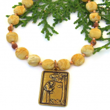 st francis gold bronze pendant jewelry honey jasper rhyolite
