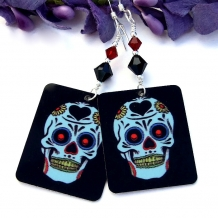 Unique sugar skull and Swarovski crystal Day of the Dead earrings.