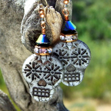 sugar skulls jewelry gift for women halloween day of the dead