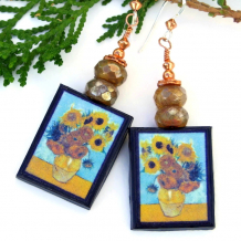 sunflowers polymer clay handmade earrings vincent van gogh