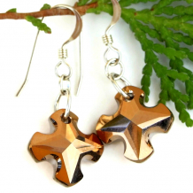 swarovski crystal greek cross earrings