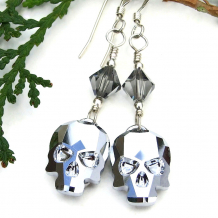swarovski crystal skulls and bicones dangle earrings
