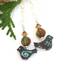 Handmade bird earrings.
